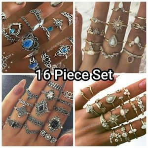 16 Piece Silver Sapphire Midi Stack Knuckle Rings